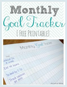 Finally achieve your goals and feel successful with this monthly goal tracker printable. This printable lets you see your successes everyday and identify weak spots and patterns so you can avoid temptation and falling off the wagon.