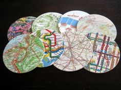 Map Coasters andMemories - I need to do something like this...I have a bag filled with maps from travels!
