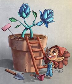Big gardening plans!  I didn't draw anything for Mermay because this idea came to me and I really wanted to do this illustration.  It took me a while since I wanted to find a way to put more texture into my drawing and I tried to pay extra attention to the perspective of the objects and the lighting and shadows.  #clipstudiopaint #gardening #texture #illustration #art #brownie #digitalpainting #digitalart #girl #girldrawing #digital #blueflower #flowers #sketch #practicedrawing… Drawing Practice, Garden Planning, Blue Flowers, Digital Illustration, My Drawings, Shadows, Perspective, Digital Art, Objects