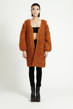 Fuzzy Cardi by Stolen Girlfriends Club Orange Crush, Girlfriends, Fur Coat, Club, My Style, Sweaters, How To Wear, Jackets, Collection