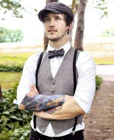 42 Vintage Wedding Groom Looks That Inspire Groom Vest, Groomsmen Suspenders, Groom Outfit, Groom Attire, Groom And Groomsmen, Rockabilly Groom, Rockabilly Wedding, Country Wedding Attire, Vintage Country Weddings