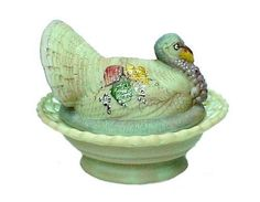 Green Glass Hand Painted Turkey Covered Animal Dish. A gorgeous Limited Edition for Collectors.
