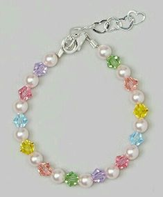 Crystal Dream Stylish Pink Swarovski Simulated Pearls and Multicolor Crystals Sterling Silver Baby Girl Bracelet Gift BMCB_L * Learn more by visiting the image link. Bracelet Bebe, Baby Bracelet, Pearl Bracelet, Swarovski Bracelet, Crystal Bracelets, Sterling Silver Bracelets, Jewelry Bracelets, Jewelery, Ankle Bracelets