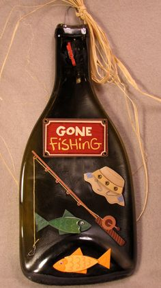 Slumped bottle with a Gone Fishing motif and a by CamillesCritters, $27.00