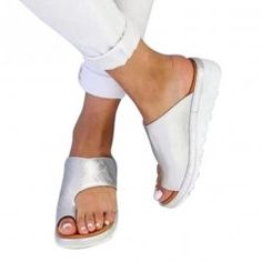 Buy Women PU Leather Shoes Comfy Platform Flat Sole Ladies Casual Soft Big Toe Foot Correction Sandal Orthopedic Bunion Corrector at Wish - Shopping Made Fun Summer Wedges, Summer Shoes, Wedge Shoes, Shoes Sandals, Wedge Sandals, Orthopedic Sandals, Womens Flip Flops, Beach Shoes, Comfy Shoes