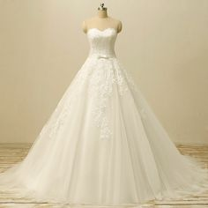 White Ivory Wedding Dresses With Long Train Formal Lace Bridal Gown Plus Size #Handmade #BallGown #Formal