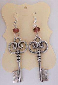 Silver Skeleton Key Dangly Earrings with Purple by WendyWhiteCo, $10.00