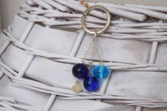keychain ombrè blue glass by amabito on Etsy, €12.00