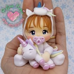 Polymer Clay Figures, Polymer Clay Dolls, Polymer Clay Miniatures, Polymer Clay Crafts, Unicorn Birthday, Unicorn Party, Cake Topper Tutorial, Fondant Animals, Clay Baby