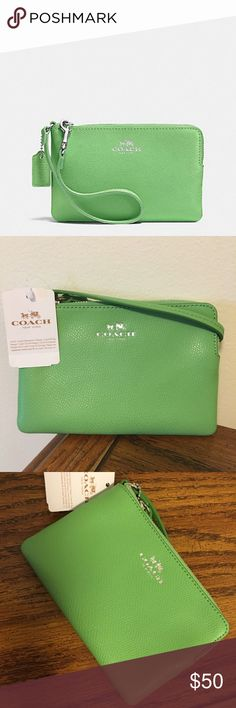 "NWT Coach stunning pistachio wristlet!! NWT Coach stunning pistachio wristlet!!  Measures 6.5"" in length & 4"" in height Coach Bags Clutches & Wristlets"