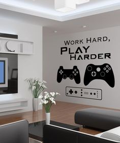 Vinyl Wall Decal Sticker Work Hard Play Harder Decal Different sizes are available. Email us and we will give you a fair price. Some wall decals may come in multiple pieces due to the size of the desig Gamer Bedroom, Boys Bedroom Decor, Wall Decals For Bedroom, Bedroom Ideas, Boys Game Room, Boy Room, Teen Game Rooms, Video Game Rooms, Video Game Bedroom
