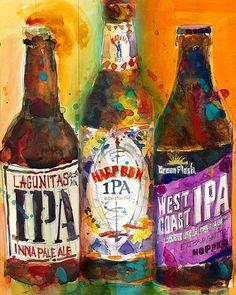 Lagunitas IPA Harpoon IPA West Coast IPA Print by dfrdesign