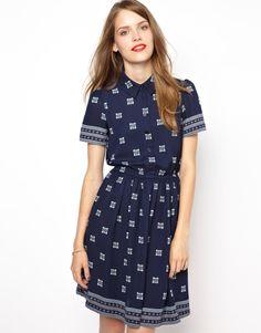 NW3 | NW3 Printed Shirt Dress with Short Sleeves at ASOS