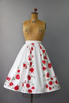 Prachtige jaren 1950 wit dikke katoenen rok met stroken taille gesmoord, zeer…