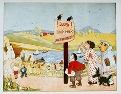 """Ilustração de um livro infantil anti-semita. A placa diz: """"Judeus não são bem-vindos aqui."""" Alemanha, 1936."""