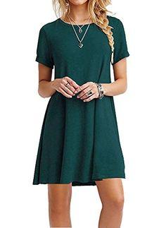 Women's Short Sleeve Casual Loose Swing Basic Cotton Simple Tunic T-shirt Dresses