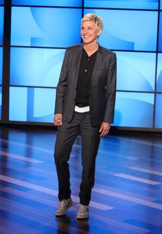Ellen's Look of the Day: Sofie D'hoore sweater; James Perse v-neck; Nike shoes  Love her style!
