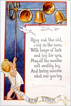 Free Vintage New Year Card: Angel ringing in the new year with bells and rhyming New Year Poem.