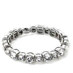 Stately Steel Round Clear Crystal Station Bracelet Hsn Jewelry, Clear Crystal, Steel, Crystals, Bracelets, Silver, Fashion, Moda, Fashion Styles