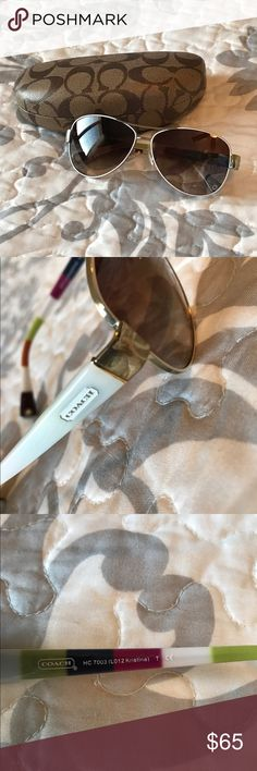 Coach Aviator Sunglasses These glasses are in good condition!  Some minor scratches to lenses.  Color is white & gold.  Make sure to bundle for additional savings!   Coach Accessories Sunglasses