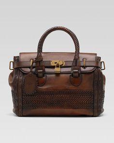 All together now.....drroooooolllllll - Handmade Medium Top-Handle Bag by Gucci at Neiman Marcus.