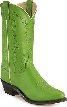 Old West Jama Basic Western Cowgirl Boots - Medium Toe Old West Boots, Boot Scootin Boogie, Westerns, Green Boots, Cowgirl Boots, Shoe Sale, Shades Of Green, Cowgirls, Leather Boots