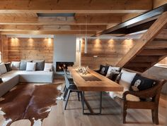 Gorgeous Living Room Interior Design Which Exist in Qounset House - Chalet Design, Chalet Style, House Design, Chalet Interior, Interior Design Living Room, Interior Decorating, Decorating Ideas, Decor Ideas, Dining Room Inspiration