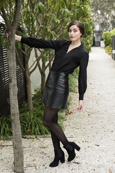 Misty Lang black silk shirt, black leather skirt, genuine leather.  www.mistylang.com Black Silk Shirt, Black Leather Skirts, Shirts, Fashion Design, Dress Shirts, Shirt