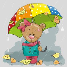 Illustration about Cute cartoon bear with umbrella under the rain. Illustration of mammals, leaf, heart - 79788756