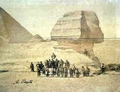 Samurai visiting the Sphinx during a European diplomatic mission, Egypt, 1884. The embassy's members, dressed in winged kamishimo costume and jingasa hats, carrying their feared long (katana) and short (wakizashi) swords, standing before the Giza Sphinx.Photo by Antonio Beato, who was a British and Italian photographer. He was the younger brother of photographer Felice Beato who was noted for being one of the first people to take photographs in East Asia and one of the first war…