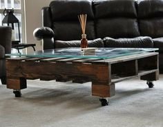 Dark Stained Coffee Table. Made of reclaimed pallet wood - sanded, stained and sealed with character.