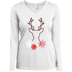 Christmas Snow Deer Ladies Long Sleeve Performance Vneck Tee