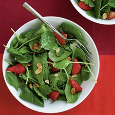 Spinach Strawberry Salad | MyRecipes.com #myplate #fruit #vegetable