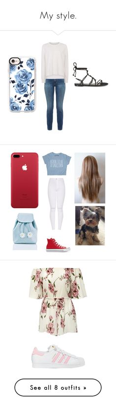 """""""My style."""" by emmalouloulovespolyvore ❤ liked on Polyvore featuring Current/Elliott, Sweaty Betty, Casetify, Rebecca Minkoff, Converse, Sugarbaby, adidas, Boohoo, Monsoon and Marc Jacobs"""