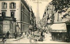 """La rue Saint-Dominique , le café """"Le Recrutement"""" et la belle perspective sur la Tour Eiffel, vers 1900"""