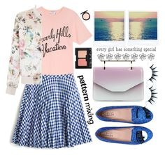 """Plaid and Flowers for Spring"" by karineminzonwilson ❤ liked on Polyvore featuring Wildfox, J.Crew, New Look, MAC Cosmetics, Chiara Ferragni, M2Malletier, NARS Cosmetics, Pink, Blue and plaid"