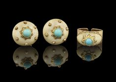 """""""Mario Buccellati Eighteen-Karat Yellow Gold, Ivory and Turquoise Ring with Matching Earrings, the ring with an open shank and with a bezel-set high dome oval ivory cabochon with a gold-leaf design, stud-set with an approximate 4.0 mm turquoise cabochon at the center, size 7-1/2"""", adjustable, and the round ivory button dome cabochon earrings stud-set with a round 6.0 mm turquoise cabochon, surrounded by six gold studs, dia. 18.0 mm, both pieces engraved """"Mario Buccellati""""."""" (quote)"""