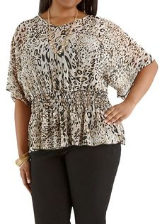 just in!  Plus Sheer Animal Print Dolman Sleeve Top: Dots.com