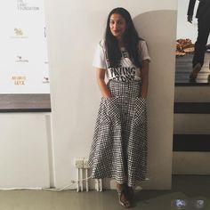 Designer Saloni Lodha wears the Leah cotton printed skirt in criss cross strokes #dreamingofsummer Resort16