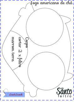 Carmela Caramella : moldes porta caneca e jogo americano coruja
