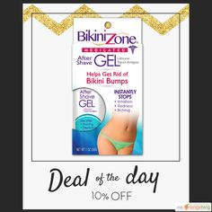 Today Only! 10% OFF this item.  Follow us on Pinterest to be the first to see our exciting Daily Deals. Today's Product: Bikini Zone After-Shave Gel For Bikini Area Buy now: https://small.bz/AAhZnGY #musthave #loveit #instacool #shop #shopping #onlineshopping #instashop #instagood #instafollow #photooftheday #picoftheday #love #OTstores #smallbiz #sale #dailydeal #dealoftheday #todayonly #instadaily