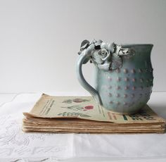 Stoneware Tea Cup MADE TO ORDER  with roses Handmade Ceramics  - Stoneware  - light blue - mug on Etsy, $35.62