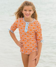Look at this Cabana Life Orange Quatrefoil Rashguard Set - Toddler & Girls on #zulily today!