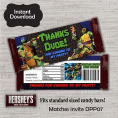 Printable diy ninja turtles inspired invitations party invite teenage mutant ninja turtles candy bar wrappertmnt candy wrapperninja turtles wrapper solutioingenieria Images