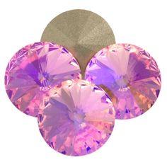Four Swarovski Crystal 12mm 1122 Rivoli Light Rose Glacier Blue (223 GB)
