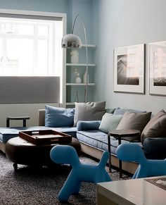 The stunning Complement The Accent Color In The Room With A Pair Of Maggis Puppies With Blue Wall
