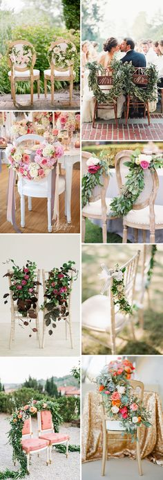 Floral garland and swag chair decor // see them all on www.onefabday.com