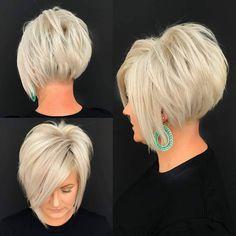 Stylish Short Haircuts, Stacked Haircuts, Short Haircut Styles, Short Bob Haircuts, Pixie Bob Haircut, Short Styles, Funky Short Hair, Short Hair With Layers, Short Hair Cuts For Women