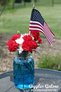 Patriotic Flowers in Mason Jars. of July Celebrating America's Independence. Could also work for Memorial Day and Veteran's Day. Memorial Day Decorations, Memorial Day Celebrations, 4th Of July Decorations, Holiday Decorations, Fourth Of July Decor, 4th Of July Fireworks, 4th Of July Party, July 4th, Eagle Scout Ceremony