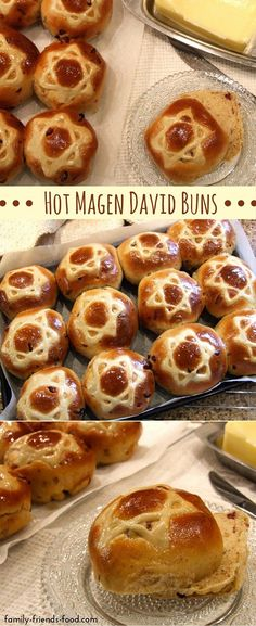 Rich fruity spicy & delicious each of these buns sports a magnificent Magen David on its golden shiny top. Enjoy them warm cold or toasted. Kosher Recipes, Bread Recipes, Hanukkah Food, Jewish Hanukkah, Hannukah, Hanukkah Recipes, Happy Hanukkah, Scones, Comida Kosher